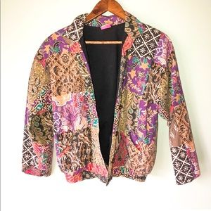 Vintage Multicolor Patterned Bomber Blazer Jacket